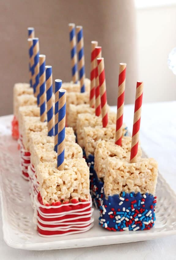 Red White & Blue Dipped Rice Krispy Pops from Life Love & Sugar