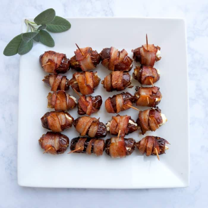 Bacon Wrapped Dates Stuffed with Goat Cheese Recipe - What to bring to friendsgiving