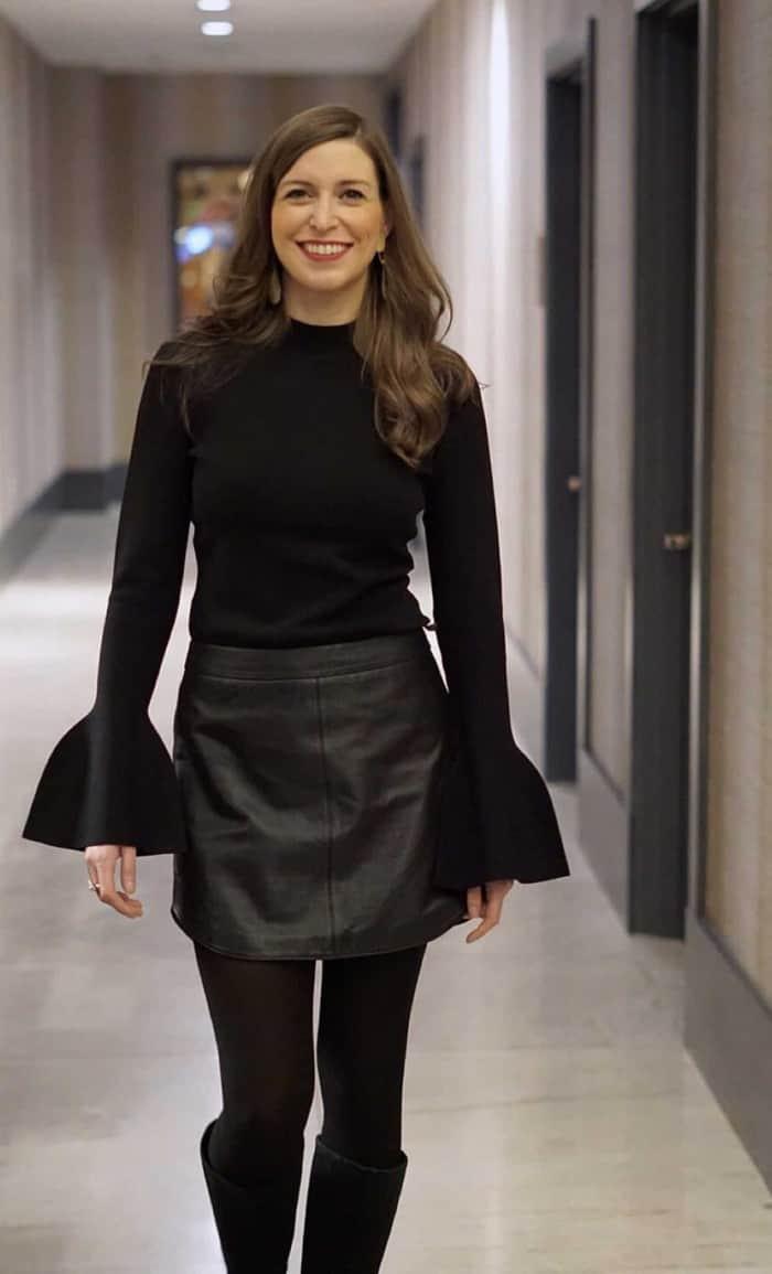 DVF Bell sleeve shirt with black leather bb dakota skirt