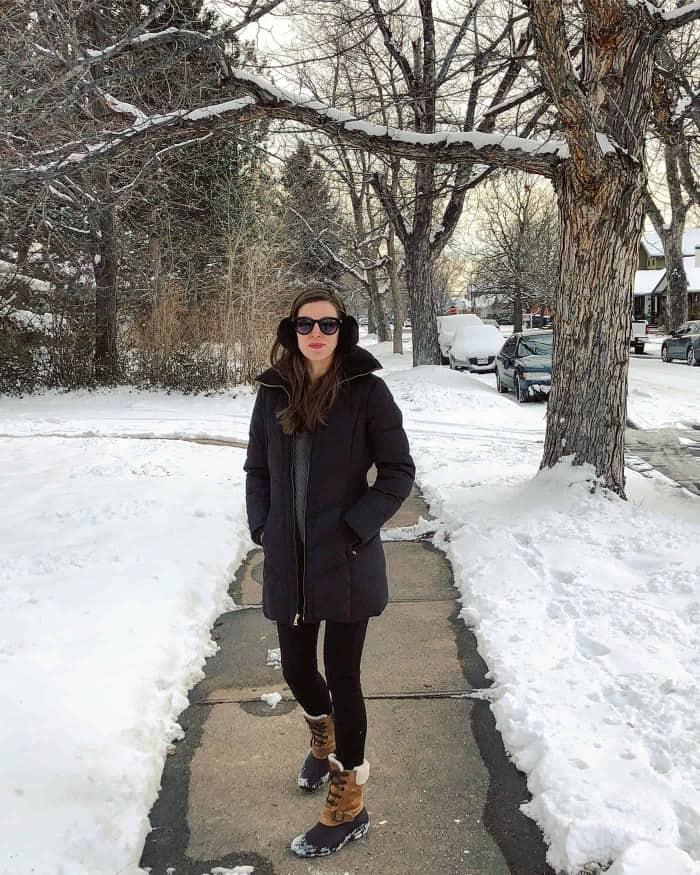 Tobi Sweater, Cole Hann Jacket, Sperry Snow boots | Blue Mountain Belle