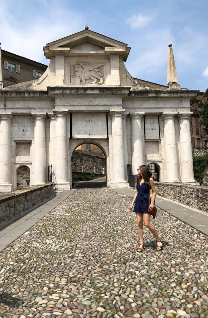 Adelyn Rae Rowan Tie-Front Scallop Romper and Born Welch Sandals in Italy
