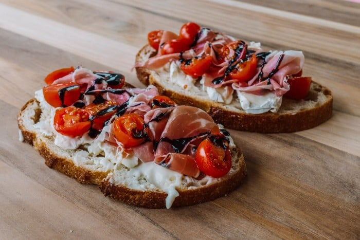 MouCo Camembert with Prosciutto, Tomato & Balsamic Glaze Fancy Toast - Blue Mountain Belle
