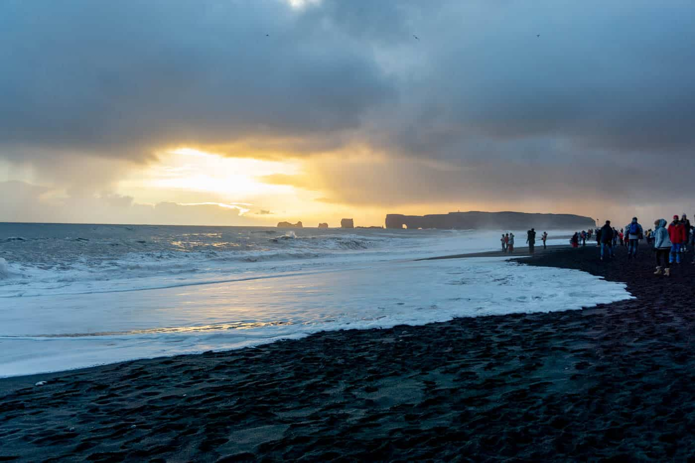 Black Sand Beach at Sunset
