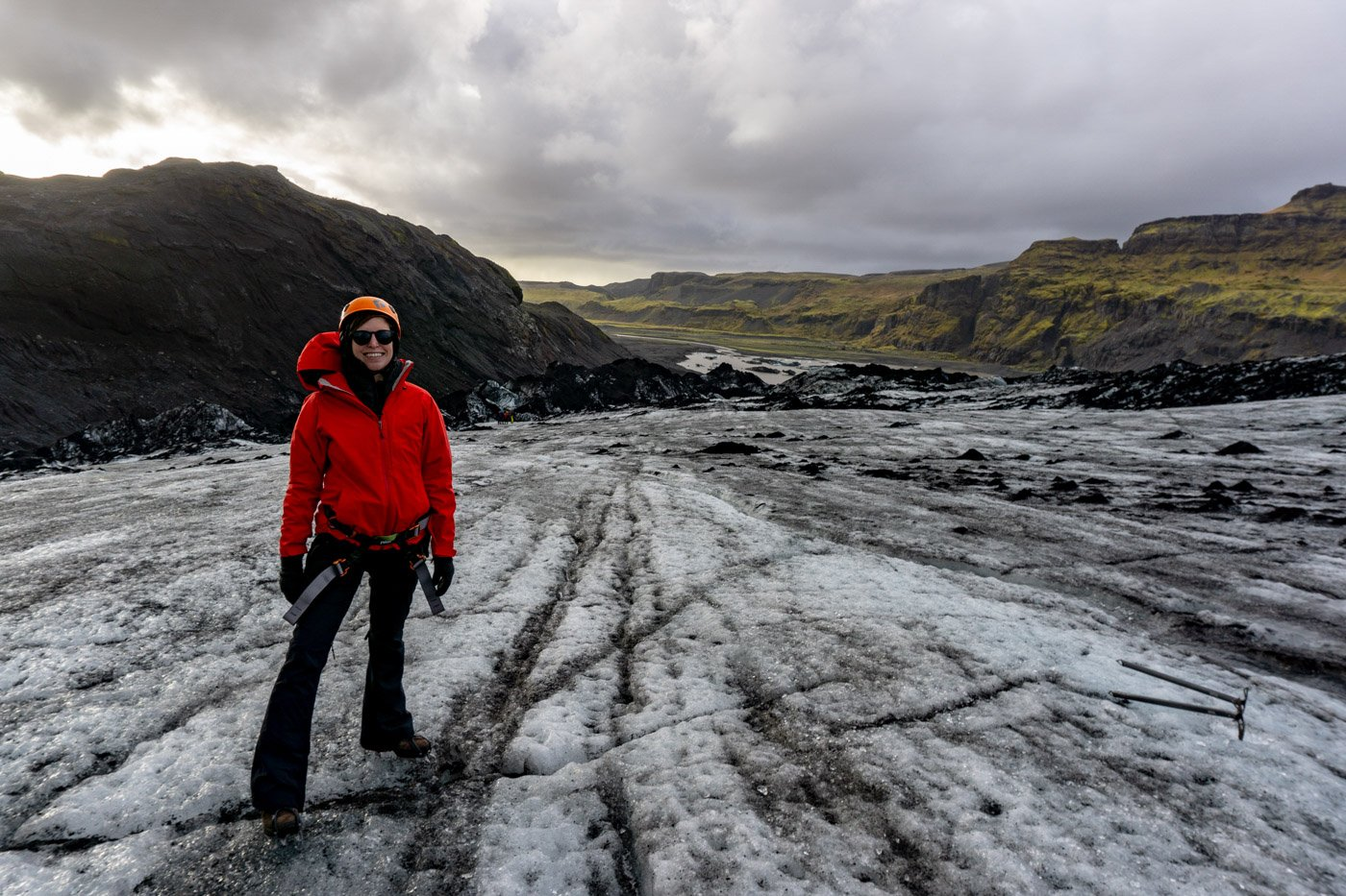 Blue Mountain Belle doing a glacier hike on Solheimajokull Iceland