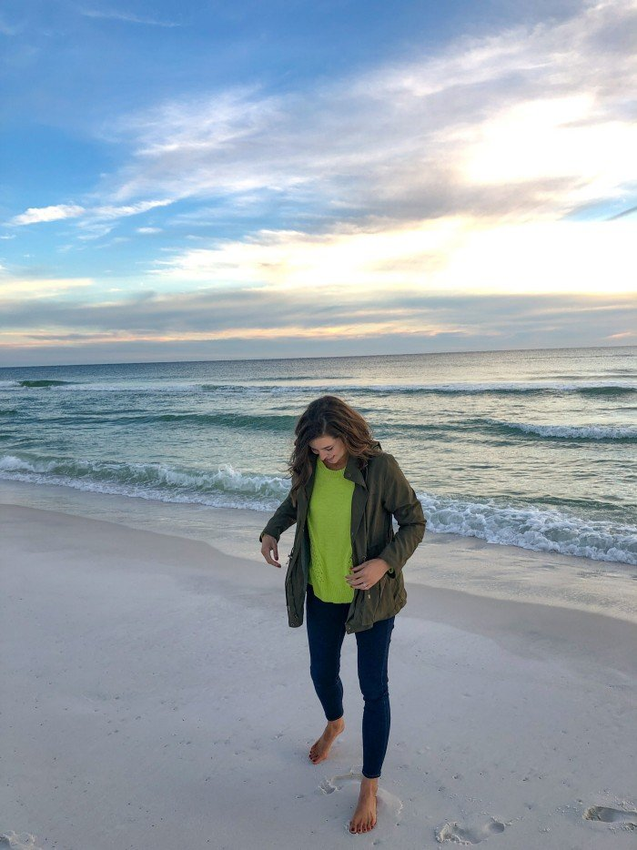 Blue Mountain Belle Wearing Evereve Neon Sweater at Sunset