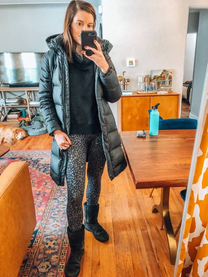 Blue Mountain Belle in patagonia parka and spanx leggings