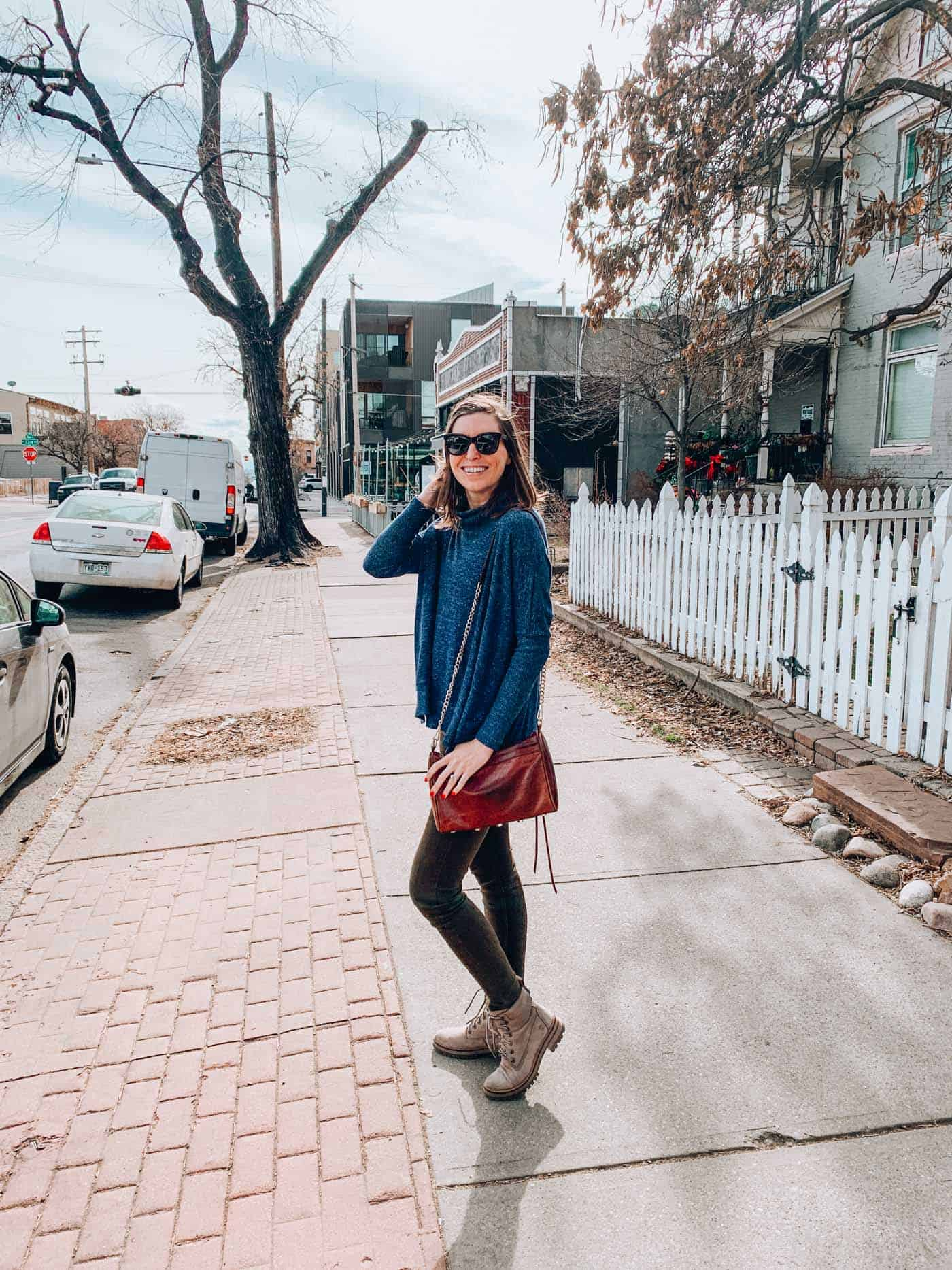 Denver Blogger wearing Evereve Heather Cowl Neck Blue Pullover with H&M Green Pants and Timberland Boots