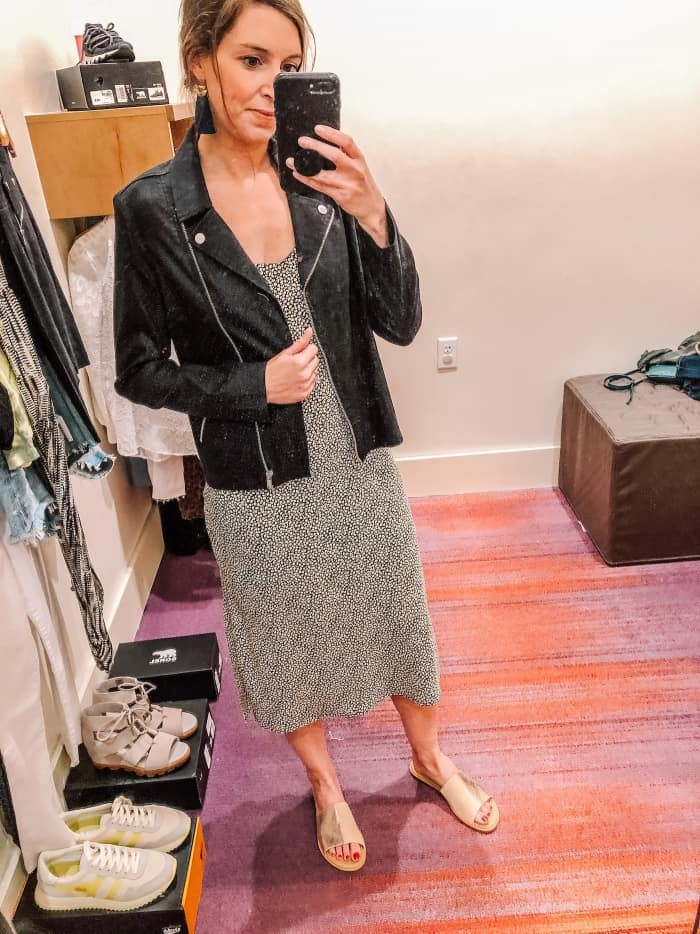 Allison Joy Piper Black & White Mid Length Dress with Rosie Moto Jacket from Evereve