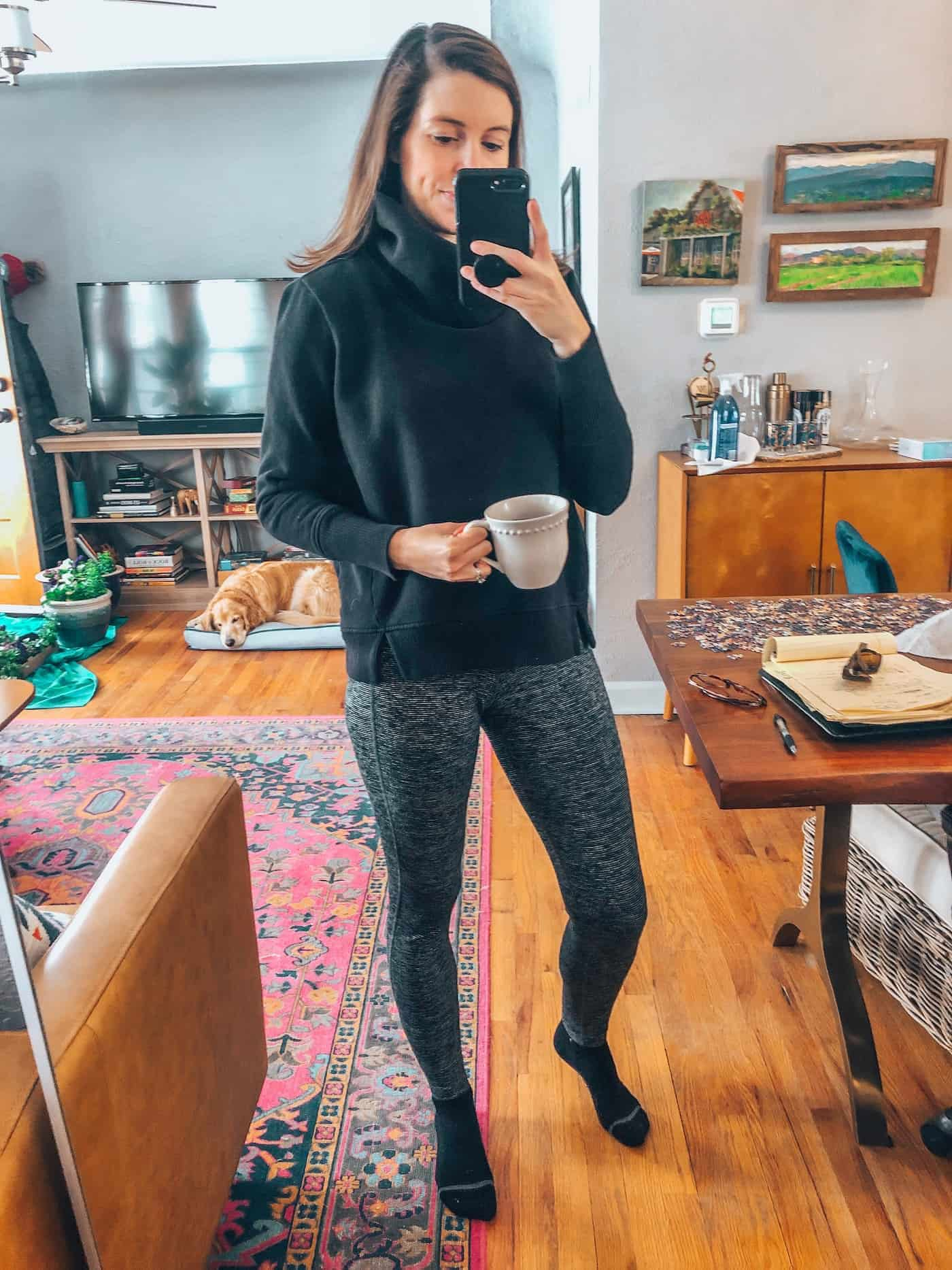 Alo Funnel Neck Pullover and Old Navy Leggings