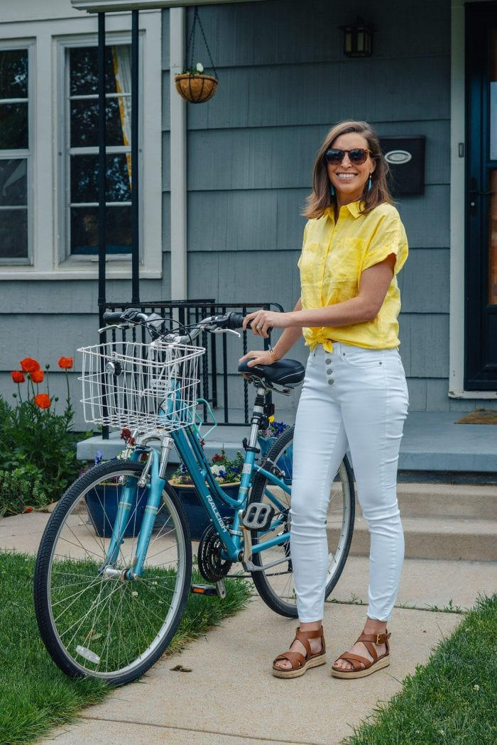 White Button Front Jeans with Yellow Tie Front Shirt for Summer