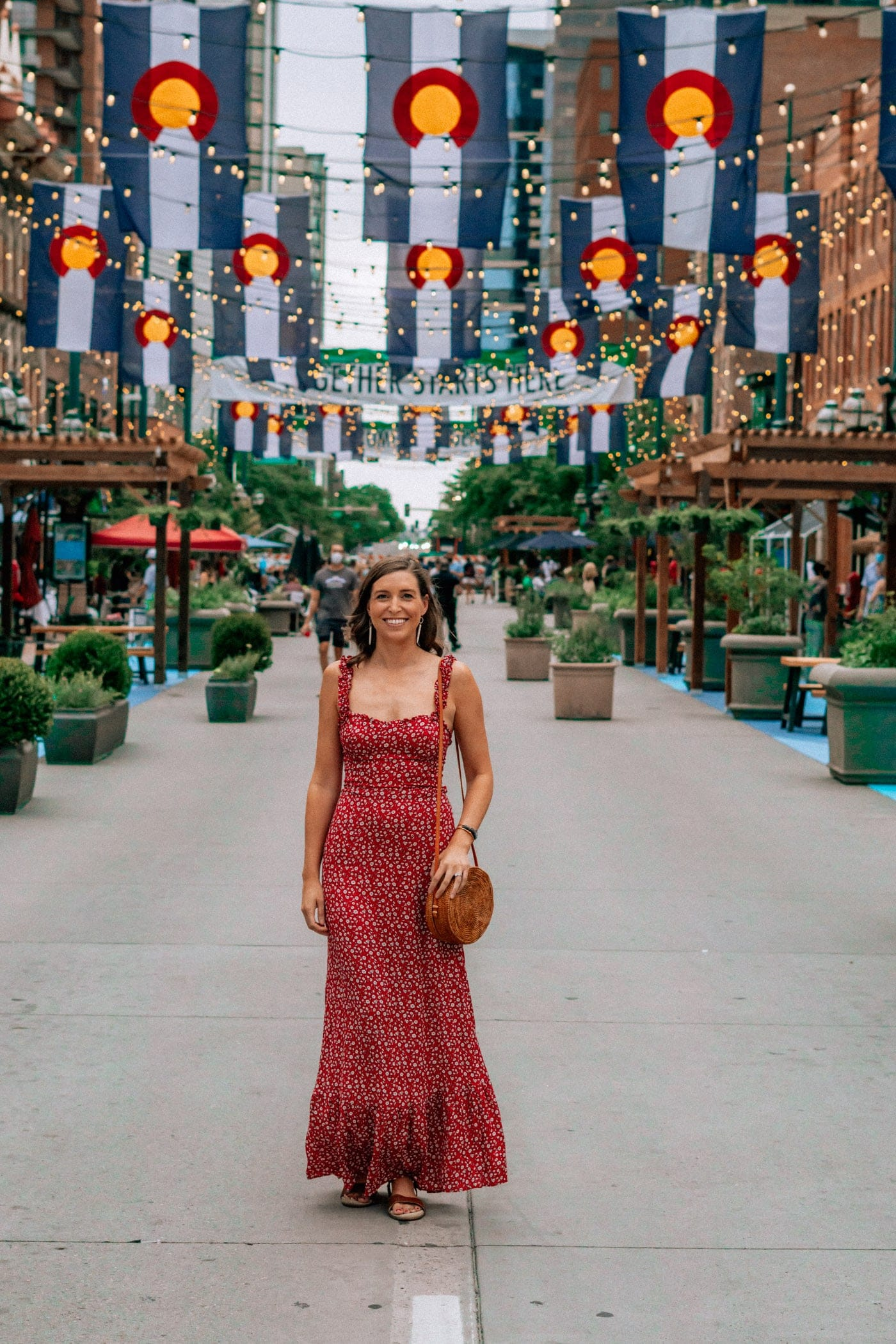 Red Maxi Dress on Larimer Square