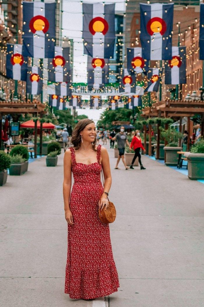 Red Maxi Dress on Larimer Square