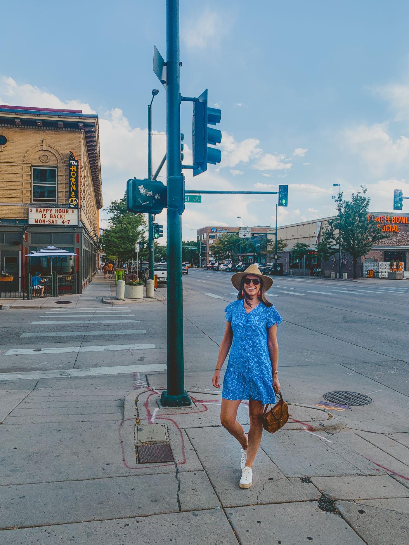 Wearing a Amazon Blue Polka Dot Sundress with White Keds