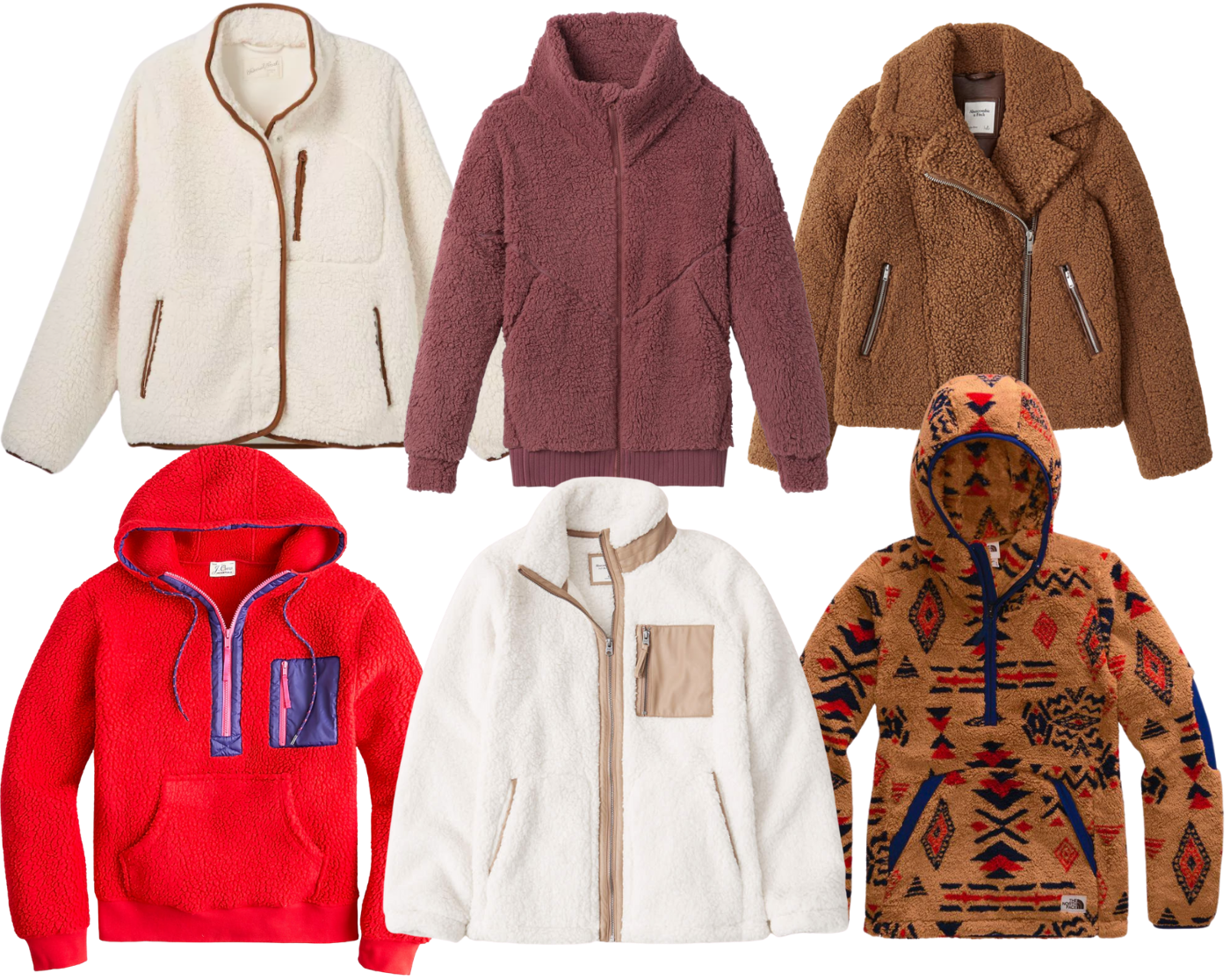 Collage of Sherpa Jackets for Fall
