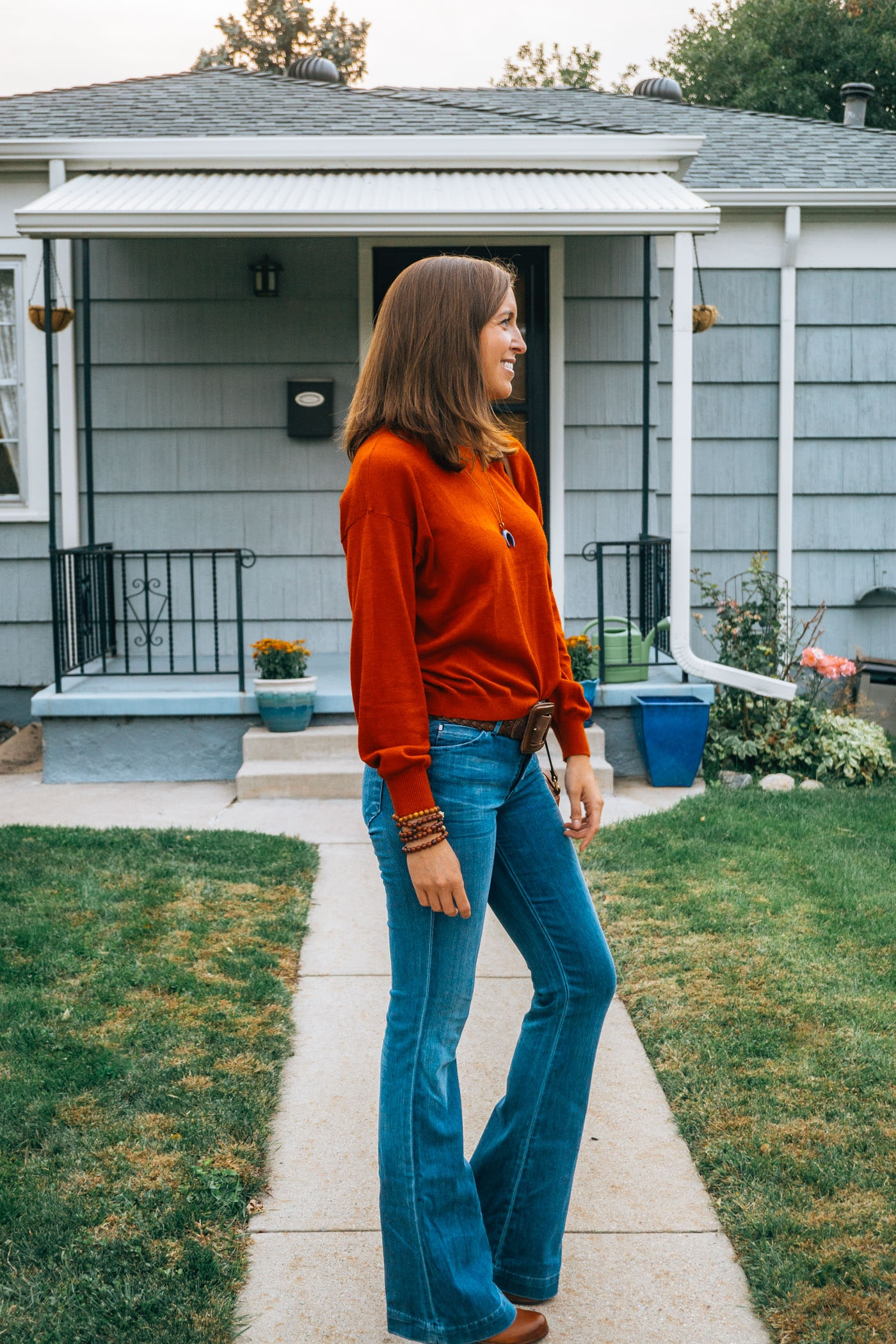 Fall Look Orange Sweater and Flares
